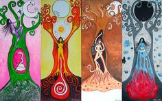 The Cyclical Nature of Women - The Four Goddesses Within - The Four Lunar Phases Goddess Art, Moon Goddess, Wicca, Éphémères Vintage, Moon Time, Mandala, Sacred Feminine, Red Moon, Moon Magic