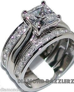 Princess cut Diamond Engagement Ring 3 Band Wedding Set sz 7 Sterling Silver 925