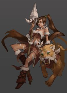 hozure:  A-Z #25 - Nidalee. Need to figure out something with the lines.