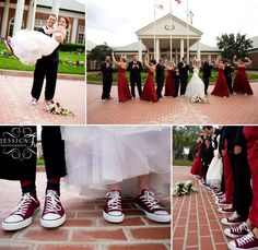 hochzeitsschuhe chucks Bridal party in Chucks Wedding Wishes, Red Wedding, Wedding Bells, Wedding Photos, Vampire Wedding, Maroon Converse, Dress With Converse, Converse Wedding Shoes, Converse Shoes