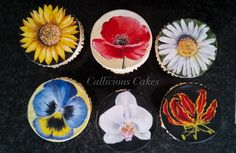 Hand painted cupcakes I did  as an online class for Pretty Witty Cakes ... Here is the link https://www.prettywittycakes.co.uk/projects/photorealistic-flower-cupcakes-project