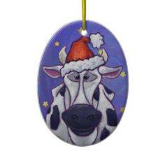 Shop Cute Cow Christmas Ornament created by ImagineThatDesign. Christmas Tree Ornaments, Christmas Holidays, Christmas Decorations, Christmas Bible, Christmas Crafts, Personalized Christmas Gifts, Holiday Gifts, Cow Painting, Cute Cows