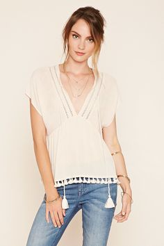 Contemporary Tasseled Peasant Blouse | Forever 21 - 2000223686