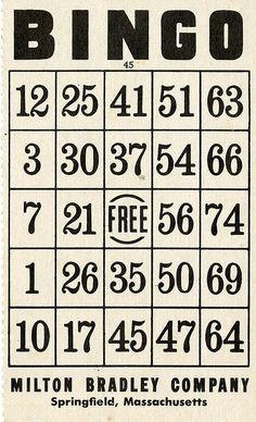 bingo card | DIY table number
