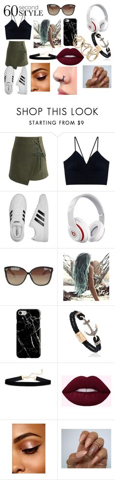 """""""Street Swag"""" by pretty-little-lairs-true-love ❤ liked on Polyvore featuring Chicwish, adidas, Beats by Dr. Dre, Linda Farrow, Recover, asymmetricskirts and 60secondstyle"""