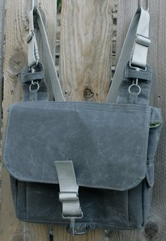 Large Convertible Waxed Canvas Backpack/Messenger Bag by Poise