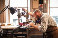Our bespoke craftsman at work in our new bespoke workshop, located at 118 New Bond Street, London