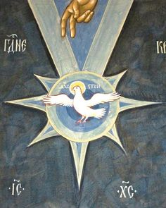 Άγιο Πνεύμα ~Holy Spirit: this God has revealed to us through the Spirit. Religious Icons, Religious Art, Saint Esprit, Spiritus, Byzantine Icons, Orthodox Icons, Blessed Mother, Sacred Art, Christian Art