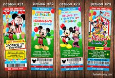 Mickey Mouse Clubhouse Circus Carnival Birthday Party Photo Ticket Invitations - Printable