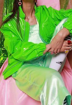 Glossy+limeade+bomber+jacket+
