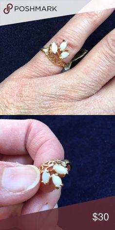 Genuine opal 18k gold plated ring NWT Genuine opal 18k gold plated ring. NWT Jewelry Rings