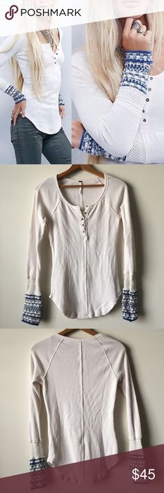 """Free People Ski Lodge thermal Cream henley thermal with beautifully detailed blue & cream knit cuffs, from Free People. Slim fit, raw edge seam, stylized buttons. 25"""" long. Very gently worn, no holes or discolorations. Machine washable. Cozy and great for layering or wearing alone!         Reasonable offers welcome. No lowballing, please. No trades or non-posh transactions! Bundle and save! Free People Tops"""