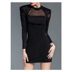 Black Crew Neck Sheer Combo Sheath Dress ❤ liked on Polyvore featuring dresses, see-through dresses, crew dresses, transparent dress, crew neck dress and sheer dress