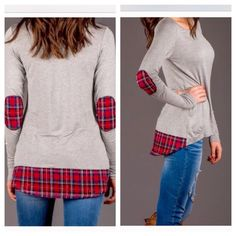 Cotton Stretch Plaid Detail • Elbow Patch Top Brand new w/out tag boutique top. Very soft and comfy! Chic and lightweight, featuring a round neckline, slight high/low cut, and darling plaid stitching accents. Incredibly soft and breezy cotton blend/t-shirt material. Size Medium-Large, and material provides stretch. Stylish and so comfortable to throw on and go! Model is wearing a small. Take advantage of a 15% discount with bundles of 2+ items, plus you save on shipping  Boutique Tops Tunics