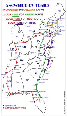 Slow, easy and scenic RV routes through the Eastern USA with mileages, campground reviews, photos, costs and more. http://www.snowbirdrvtrails.com