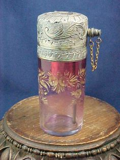 Antique French Cranberry Cut & Hand Painted Art Glass Atomizer Perfume Bottle |