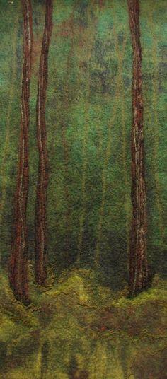 Tree trunks - wet felt panel