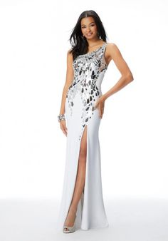 Morilee 46039 Shattered Glass Beaded One Shoulder Gown