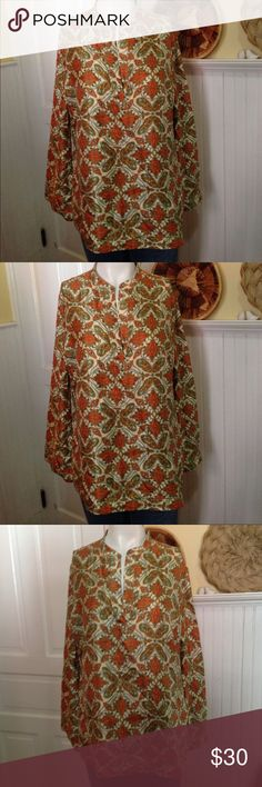 Talbots fall colors pure silk top size 12 Talbots fall colors pure silk top size 12, long sleeve,  split v neck, great condition Talbots Tops Blouses