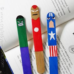 Recycle your popsicle sticks and make these cool Avengers bookmarks with your kids!