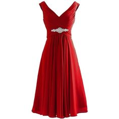 H.S.D Women's V Neck Chiffon Short Bridesmaid Dress Party Gowns ($70) ❤ liked on Polyvore featuring dresses, gowns, red evening gowns, short party dresses, red dress, party dresses and party gowns