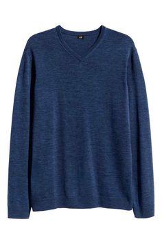 Джемпер из мериносовой шерсти - Синий - Мужчины | H&M RU 1