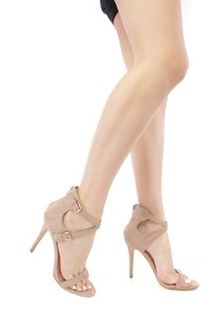 Nude Strappy Open Toe Faux Suede High Heels