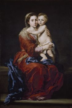 Madonna and Child or Virgin of the Rosary by Bartolome Esteban Murillo Oracion A San Antonio, Esteban Murillo, Lady Of Lourdes, Holy Rosary, Rosary Prayer, Sainte Marie, Baroque Art, Immaculate Conception, Mary And Jesus