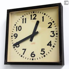 RFT Large Factory Wall Clock, Communist East Germany, 1950s