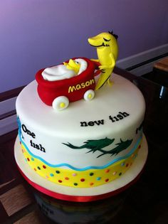 Adorable Dr. Seuss baby shower cake! (from Sweet Discoveries) #cakes #suess
