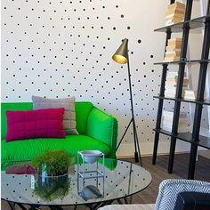 Wall decor | jebiga | #wallpaper #dots #neon #couche