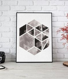 Hexagon Watercolor Printable, Geometric Print, Abstract Poster, Watercolor Print, Minimalist Wall Art, Hexagon Wall Art, Geometric Decor  HD digital download sized to fit standard frames, print from print shop or your computer.  You will receive - 8 x 10 inch jpg 11 x 14 inch jpg 16 x Printable Art, Printables, Geometric Decor, Watercolor Print, As You Like, Minimalist, Display, Quilts, Wall Art