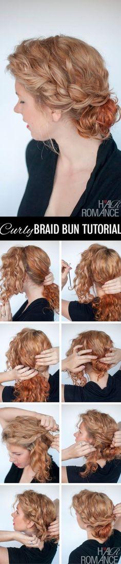 Braid bun tutorial for curly hair