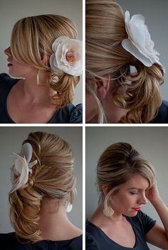 Hair Romance Day 9 of the hairstyle challenge - Twist & Pin side ponytail with flower corsage