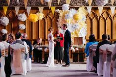 Bunting Pom Poms Paper Flower Wall Backdrop Ceremony Creative DIY Yellow Wedding http://elainewilliamsphoto.com/