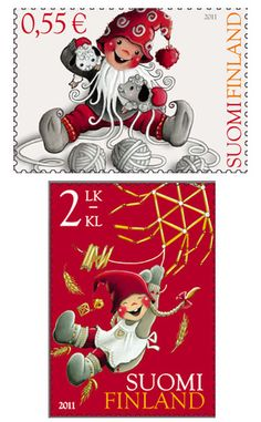 Finnish Elf Christmas stamps 2011.....adorable!