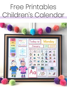 Free DIY Children's Calendar printables available in English, Spanish and French! This calendar is a great learning tool to use with children daily and a fun way to learn about the weather, days of the week and plan out your day! Toddler Calendar, Preschool Calendar, Classroom Calendar, Calendar For Kids, Calendar Time, Free Calendar, 2021 Calendar, February Calendar, Printable Calendar Template