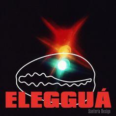 Eleggua picture with Eleggua name and big cowrie design. Orishas Yoruba, Yoruba Religion, Afro Cuban, Spirit World, Man And Dog, Here On Earth, End Of Life, Deities, Lord