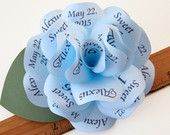 Light blue paper rose invitation with navy print, magnet and individual mailer https://www.etsy.com/listing/232706841/light-blue-and-navy-paper-rose #blueinvitation #quinceanerainvitation #quince
