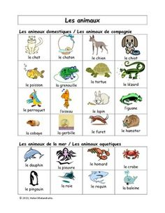 French Visual Vocabulary Word Bank - Les animaux (84 animals in French)