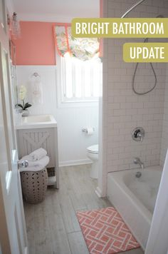 The combination of wainscoting coated in Ultra Pure White BEHR paint with pops of coral gives the space a modern beachy feel. Blogger The Houston House shows a hall bathroom update worth drooling over.