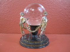Signed Erte Figural Crystal Ball