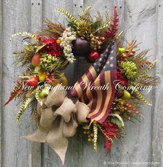 Patriotic Wreath Fourth of July Wreath by NewEnglandWreath on Etsy