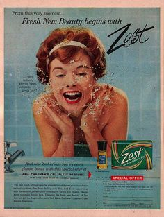 I like how this pretty gal's curls are framing her face and headband in this energetic Zest ad from 1959.