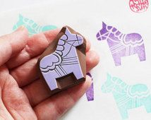 dala horse stamp. hand carved horse rubber stamp. swedish folktale.  birthday scrapbooking. gift wrapping. created by talktothesun.