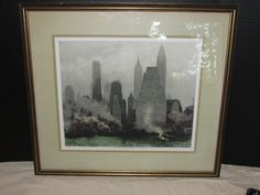 Luigi Kasimir Hand Colored and Signed Print New York City Skyline