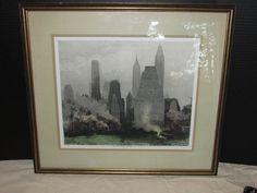 Luigi Kasimir Hand Colored and Signed Print New York City Skyline