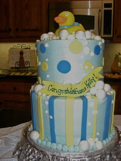 Baby Boy Rubber Ducky shower cake!