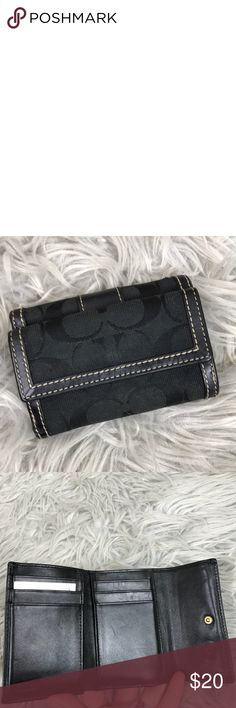 Coach Signature Monogram Trifold Wallet Gently used Coach Signature Monogram Trifold Wallet. Please see pictures for conditions. Coach Bags Wallets