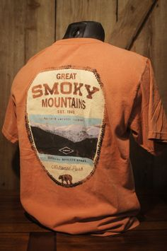 102d3c0d7 Smoky Mountains National Park - Vintage Patch Tee - Sunset Orange - by Buffalo  Jackson